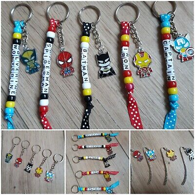 PERSONALISED BEADED MINNIE MICKEY MOUSE KEYRING//BOOK BAG TAGS//NAME//STOCKING FIL