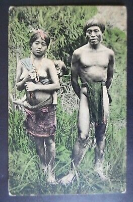 ca1910 Luzon Island Philippines Native Igorrote Family Hand Colored Postcard