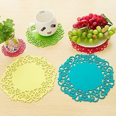 Lace Table Cup Mats Coaster Coffee Pad Placemat Hollow Silicone Receiving Tray