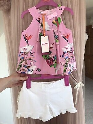 TED BAKER £32 Girls Pink Floral Birds Top & White Shorts Set Outfit 2-3yrs