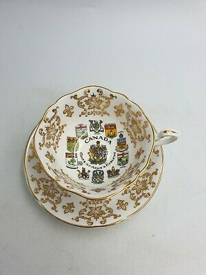 Paragon China Cabinet Cup & Saucer Emblems & Coats Of Arms Canada Gold Filigree