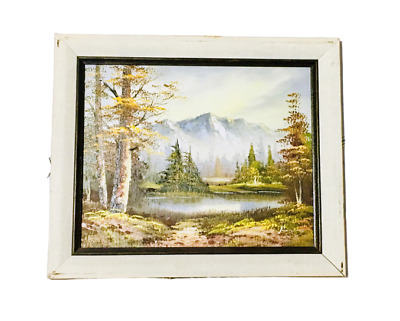 Signed Art Painting Canvas Rocky Mountains Lake Trees -Bows Ross Inspired