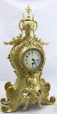Antique Mantle Clock French Lovely 1880s Embossed Rococo Bronze Japy Freres
