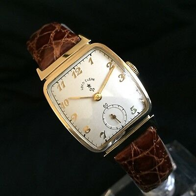 Elgin Men's Wristwatch. 14K Solid Gold . Circa 1946. Serviced And Exceptional!