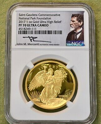 St. Gaudens Commemorative NPF Winged Liberty 1oz. Gold Ultra High relief, PF70