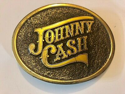 Vintage 70s 1979 JOHNNY CASH Brass Belt Buckle Henderson Tennessee VTG RARE