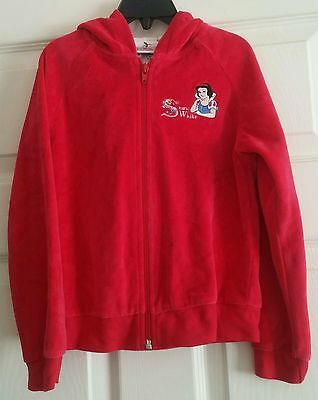 Girls Disney Princess-Snow White Bright Pink Velour Zip Front Hooded Jacket 6X