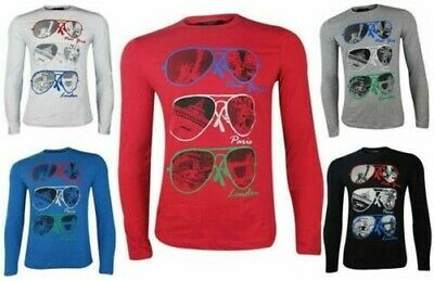 Mens T Shirts Long Sleeves Party Viscose Tee Printed Fitted Funky Size L XL XXL
