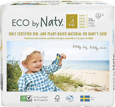 Eco by Naty - Premium Disposable Nappies for Sensitive Skin, Size 4, 6 Packs of
