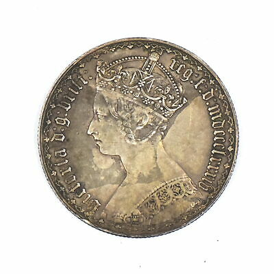 1884 Queen Victoria Gothic Florin 1/10 Pound British Sterling Silver Coin Vf-Xf