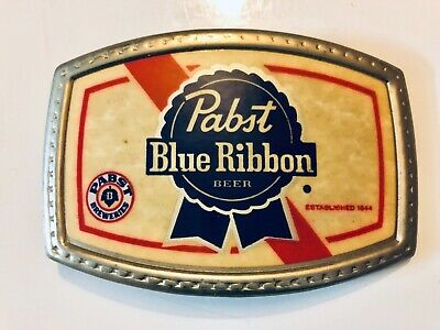 Vintage 70s PABST BLUE RIBBON BEER ADVERTISEMENT BELT BUCKLE VTG Rare