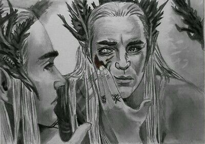 ACEO Original Graphite sketch card  Thranduil lord of rings Lee Pace