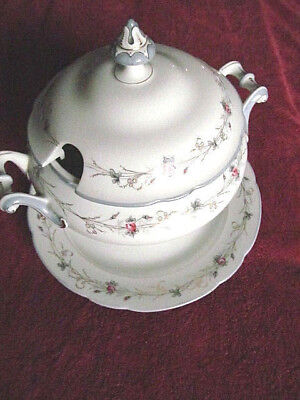 CLEAN Vintage Porcelain China SOUP TUREEN w/Under-plate-Hand Painted Rose Design