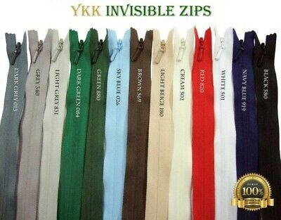 YKK Invisible ZIP #3 Coil Concealed Close End Single Slider Hidden Nylon Zipper