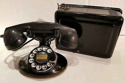 Western Electric 202 D1 Telephone & 634-A Bell Subset Vintage Rotary Dial Oval