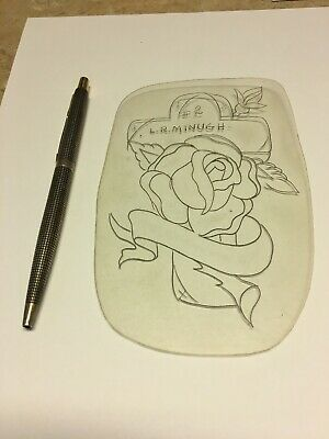 Lee Roy Minugh SIGNED 1960 Acetate Stencil Classic Rose/Cross Old School Tattoo