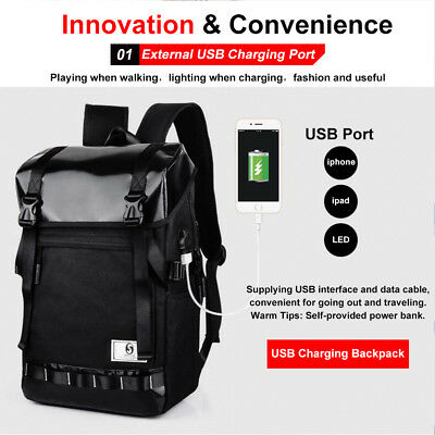 Mens Backpack Waterproof Laptop Anti-Theft Travel Business Dayback USB Charge