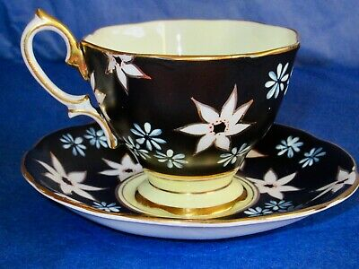 Royal Albert Antique RARE Black HAND PAINTED Cup & Saucer 1920s