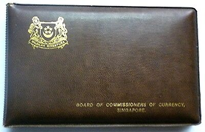1975 SINGAPORE - OFFICIAL MINT SET (6) - YEAR of RABBIT - ORIG. BROWN WALLET