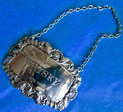 Sterling Silver WHISKY Decanter Label Birmingham 1921 Hallmarked