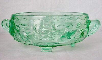 Bagley Green Glass Footed Marine Bowl Antique Art Deco  England 1930s