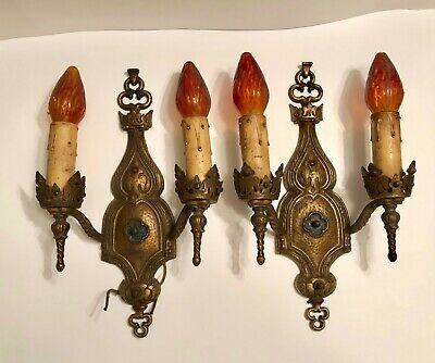 Antique Early Cast Brass Double Candle Stick Wall Sconce Ratner Socket -Lot of 2