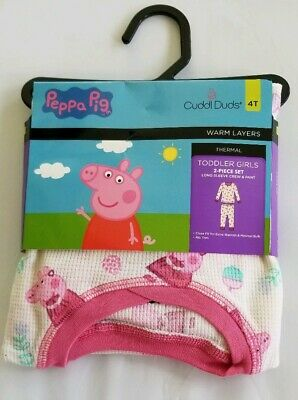 NEW Cuddl Duds Peppa Pig Thermal Warm Layers 2 Piece Crew & Legging Set 4T