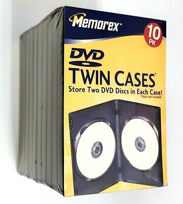 Memorex DVD Twin Storage Box Case - 10 pack - New and Sealed