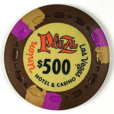 Union Plaza 1st Edition $500 Brown Scrown 3FCH3Tan OR-Gold Poker Chip 2UP1ST62