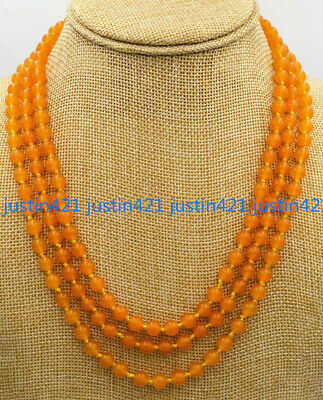 Beautiful 3 Rows Natural 6mm Yellow Topaz Round Gems Beads Necklace 17-19'' AA