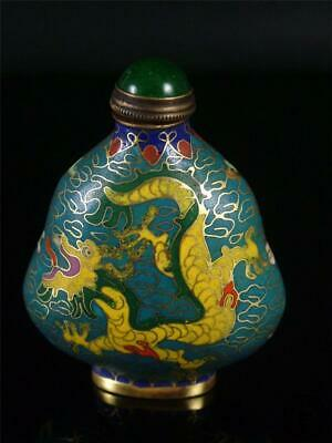Old Chinese Copper Enamel Snuff Bottle DOUBLE DRAGONS IN AUSPICIOUS CLOUDS