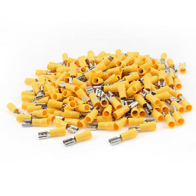 H● 500* FDD5.5-250 2.4mm Dia Bolt Yellow Pre Insulated Spade Crimp Terminals24A
