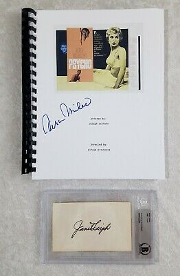 Janet Leigh & Vera Miles Psycho Actress Signed Index & Script BAS Beckett Cert