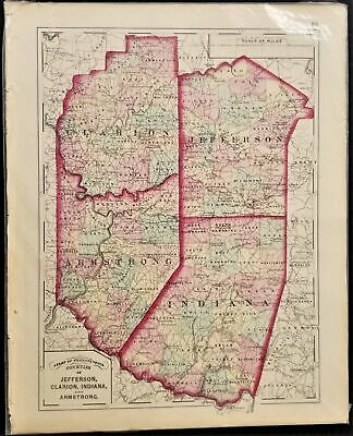 1876 antique JEFFERSON CLARION INDIANA ARMSTRONG MAP from Atlas of Pennsylvania