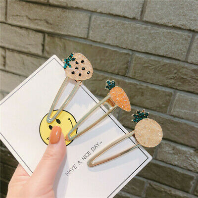 Fashion Lady Crystal Hair Clips Slide Pins Grips Hairpins Fruit Hair Accessories