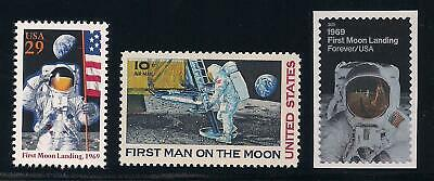 Apollo 11 - First Moon Landing - 3 U.s. Stamps - 1969 1994 2019 - Mint Condition