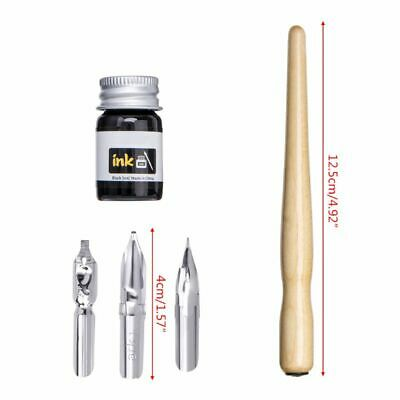Manga Dip Pen Set Comic Pro Drawing Kits 3 Nibs Wood Ink Calligraphy Tools NEW