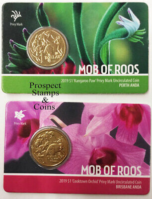 2019 - MOB OF ROOS Privymarks - Perth and Brisbane- $1 Aust UNC Coins (2 coins)