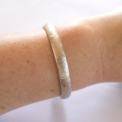 Vintage 1960s 12k White Gold Filled Florentine Etched Finish Bangle Bracelet