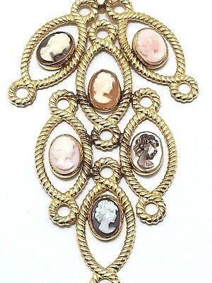 Vintage c1960s 12k Gold GF Cameo Necklace Pendant Chain Shell MOP Coral Org Box