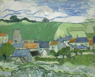 Vincent van Gogh View of Auvers Landscape Art Giclee Print on Canvas Small 8x10