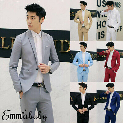 Mens Casual Slim Fit One Button Suit Blazer Business Coat Jacket With Pocket
