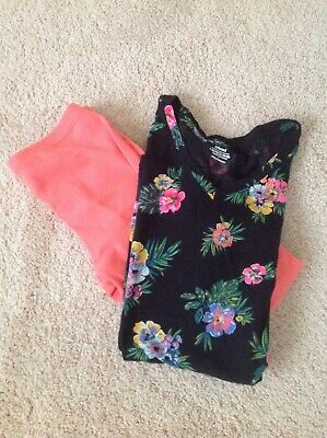 Old Navy Girls Black Floral Top and Full Size Leggings Size Large 10-12