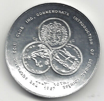1967 Auckland Coin Club Commemorates Intro of Decimal Currency 38.5mm Alum Medal