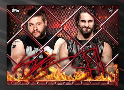 Topps DIGITL Kevin Owens Seth Rollins Red Signature Hell In A Cell 2016 WWE Slam
