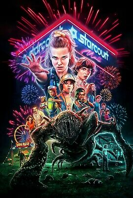 Stranger Things Season 4 Textless Poster A4 A3 A2 A1 Cinema Movie Large Format #