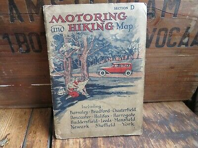 Vintage Motoring & Hiking Map Section D Mansfield Newark Chesterfield Halifax A8