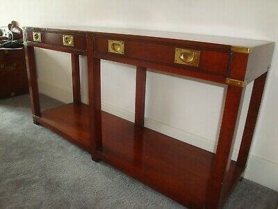 Mahogany   Military Campaign Furniture   Brass Fittings   Table With Drawers