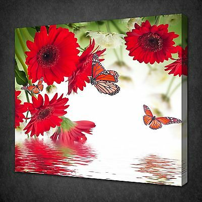 Red Gerberas Daisy Flowers Butterfly Wall Art Picture Canvas Print Ready To Hang