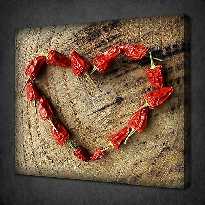 Red Chili Love Heart Kitchen Design Wall Art Picture Canvas Print Ready To Hang